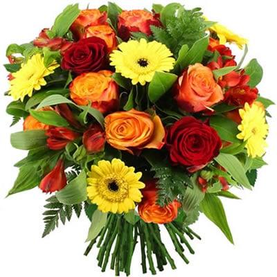 bqt de roses et germinis orange, rouge, jaune EXPRESSIF