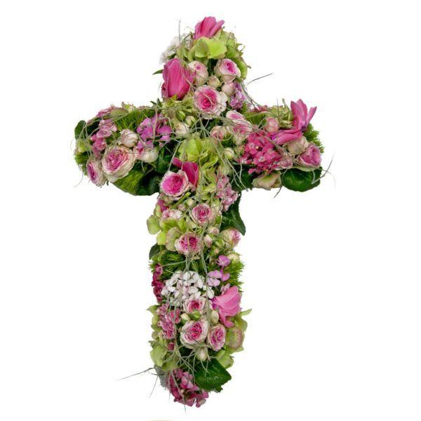 croix deuil rose