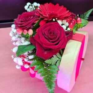 Roses Rouges, Gerbera Mini En Boite Chapeau