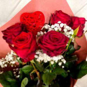 Bouquet De 5 Roses Rouges Red Naomi